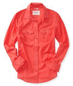 Sheer Long Sleeve Woven Shirt from Aeropostale