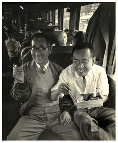 Friends on a train, 1950s by Yoshiyuki Iwase