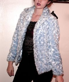 90s Baby Blue Furry Coat by MurdyBurdy on Etsy, $45.00
