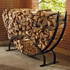 Steel Log Racks - traditional - fireplace accessories - - by FRONTGATE Outdoor Firewood Rack, Firewood Holder, Firewood Storage, Into The Woods, Metal Projects, Welding Projects, Log Holder, Traditional Fireplace, Traditional Homes