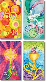 I LOVE these church banners! I would totally hang them in my dream basement/rec room