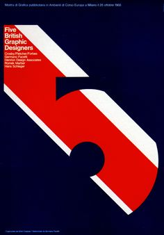 "1969 Poster. ""Five British Graphic Designers"" Advertising Office: Studio Coppola Milano, Italy"