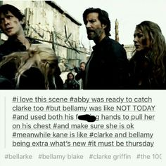 And Abby coming to terms with it because she knows the only one who cares about or will protect Clarke as fiercely or unwavering as she deserves than Bellamy Blake. And Kane knows it too and acts like it's normal because as far as he's concerned, it is. The 100 Cast, The 100 Show, It Cast, Movies Showing, Movies And Tv Shows, Bob Morley, Cw Series, Clexa, Book Tv