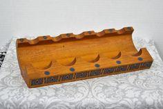 Vintage Sahin Hardwood 5 Pipe Tray Made in Turkey Blue Decoration #Sahin
