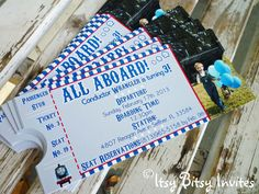 8 Personalized Train Ticket Invitations / by ItsyBitsyInvitations, $10.00