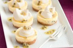 mini passionfruit cheesecakes - this recipe makes a nice small quantity (12 mini) and easily accessible ingrediants making it ideal for afternoon tea/bake sales. Might need a bit of lemon to boost the taste though.