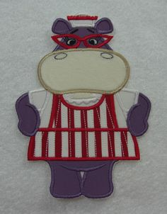 Hippo Doc McStuffins Fabric Embroidered Iron on Applique Patch Ready to Ship. $10.00, via Etsy.