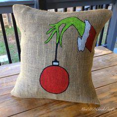 Christmas Pillow, The Grinch, Grinch Pillow, Burlap Christmas Pillow, Merry Christmas Pillow, Custom Pillow, Pillow Cover