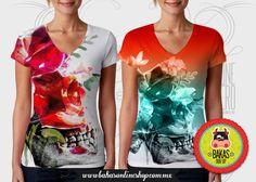 Fullprint Calavera Colors tshir sublimada frente y vuelta. de bakasonlineshop en Etsy