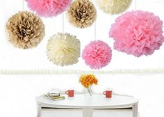 """Kubert® 18PCS Mixed 8"""" 10"""" 14"""" Sizes Ivory Pale Pink Tan Brown Party Tissue Paper Flower Pom Poms Wedding Pompoms Garland Birthday Party Baby Room Nursery Decoration - Pom Poms Ball Blooms Tissue Paper Flowers - Celebration Party Hotel House Room Wedding Decoration - Vintage Hanging Lantern Kubert http://smile.amazon.com/dp/B00V7Y06KM/ref=cm_sw_r_pi_dp_u00Bvb1ZXCN9S"""