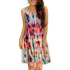 Fashion Summer 2019 Women Dress Sleeveless O-Neck Print Casual Beach Dress Loose Mini Dress Short Plus Size Dress Women Vestidos Robe Swing, Swing Dress, Dress For Short Women, Short Sleeve Dresses, Casual T Shirt Dress, Tank Dress, Blouse Outfit, Boho Dress, Lady