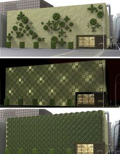 Louis Vuitton Topiary Facade.  Another bland building gets a very brand-centric makeover, but in a totally unexpected form. Gregory Polleta and Sung Jang created 'Topiade', a facade resembling French topiary in the form of the highly recognizable Louis Vuitton print.