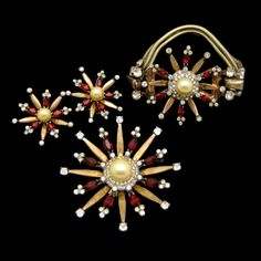 Vintage Mazer Sterling with Gold Vermeil bracelet, brooch, and earrings set features red rhinestones and large faux pearls