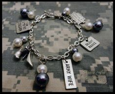 Army Wife Charm Bracelet by PearlsForDogTags on Etsy, $18.00