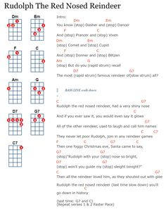 Rudolph the red nosed reindeer. Ukulele