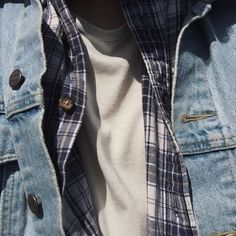 someone wearing a white shirt flannel and denim jacket, blue, white