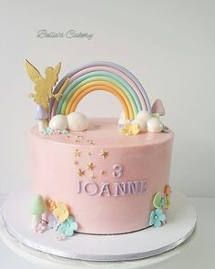 Rainbow and all things pretty! - cake by Bella's Cakes Regenbogen und alle hübschen Dinge! Fairy Birthday Cake, 1st Birthday Cake For Girls, Rainbow First Birthday, Pretty Birthday Cakes, Baby Birthday Cakes, 5th Birthday, Savoury Cake, Cute Cakes, Cake Designs