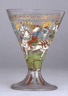 Goblet; glass; conical bowl extending into folded bell-shaped pad-base; enamelled in colours with mounted knight with banner; man standing with ewer and large arrow; intertwined floral scroll; band of gold imbrications and blue and green dots; blue and red vertical stripes on foot.