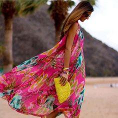 maxi floral long dress Beautiful floral chiffon maxi dress, high collar, sleeveless and flowy Dresses Maxi