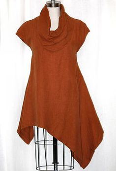 Bryn Walker Heavy Linen Noa Tunic Lagenlook Long Flax Cowl Top XL 1x Spritz | eBay