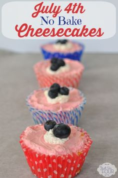 The BEST EVER no  bake cheesecake recipe and it is even colored for July 4th. Yum!
