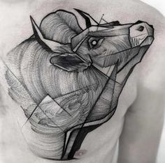 Sketch-style bull tattoo by Frank Carrilho