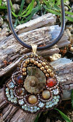 Vintage Emroidered Shell Necklace Beaded by SecretStashBoutique, $29.00