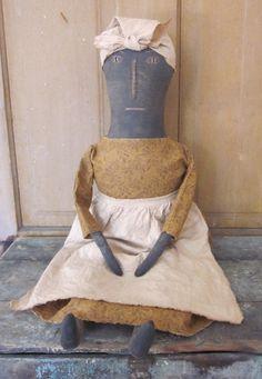 Primitive doll Weezie in mustard dress