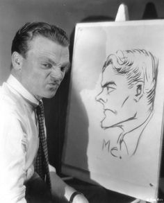 James Cagney emulates a caricature he drew of himself, 1930s.