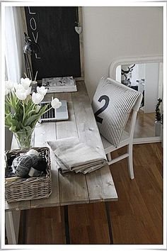 Alright... I need this. Refurbished wood all in a neutral palette give subtle texture to this work area.