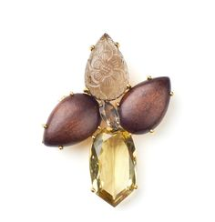 Bounkit Fall 2012 - Pin with Wood, Carved Smoky and Lemon Quartz