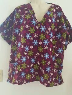 UA Scrubs SCRUB TOP XL SNOWFLAKES WINTER TWILIGHT CHRISTMAS NURSING, VET, DENTAL #UAScrubs