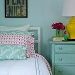 girl's rooms - yellow ginger jar lamp turquoise blue walls white bed white hotel bedding blue pearl stitching turquoise blue pillows vintage chest painted turquoise blue green vase art pink pillows