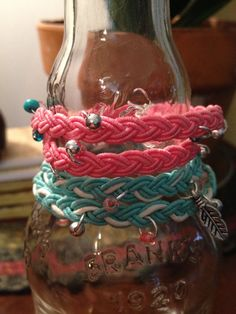 Summer Pink Braided  Bracelet with Butterfly by RoxieJaneJewelry, $18.00
