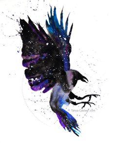 Raven / Crow Cosmic Animal Art Print Watercolor Crow Spirit Animal Art Print Watercolor by cephalopodink Raven Spirit Animal, Whats Your Spirit Animal, Spirit Animal Tattoo, Animal Meanings, Animal Symbolism, Watercolor Wolf, Watercolor Galaxy, Watercolor Paintings, Crow Art