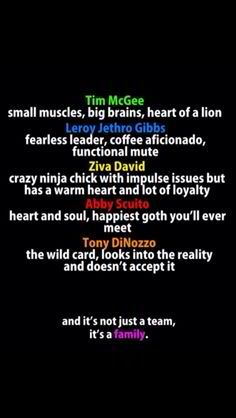 NCIS characters and their characteristics :)