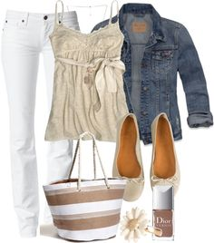 A fashion look from April 2013 featuring blue jean jacket, straight leg jeans and flat shoes. Browse and shop related looks. Beautiful Outfits, Cool Outfits, Casual Outfits, Beautiful Clothes, Cute Fashion, Fashion Outfits, Womens Fashion, Trendy Fashion, Fall Fashion