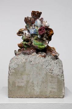 """Excavate  Clay, low-fire glazes, concrete, glass  21"""" H x 12"""" W  2009"""