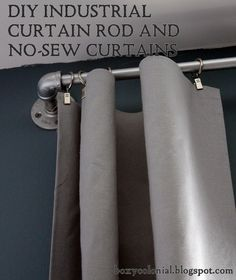 DIY Industrial Curtain Rod and no-sew curtains