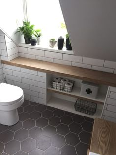 32 Small Bathroom Design Ideas for Every Taste - The Trending House Brown Bathroom, Bathroom Interior, Small Bathroom, Loft Bathroom, Bathroom Shelves, Attic Bathroom, Bathroom Windows, Bathroom Renovations, Small Bathroom Shelves