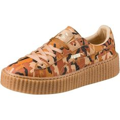 Puma PUMA BY RIHANNA WOMEN'S CAMO CREEPER ($140) ❤ liked on Polyvore featuring shoes, suede shoes, platform lace up shoes, platform shoes, laced shoes and long shoes