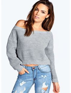 boohoo Kate Crop Slash Waffle Knit Jumper - silver Go back to nature with your knits this season and add animal motifs to your must- haves. When youre not wrapping up in woodland warmers, nod to chunky Nordic knits and polo neck jumpers in peppered ma http://www.comparestoreprices.co.uk/womens-clothes/boohoo-kate-crop-slash-waffle-knit-jumper--silver.asp
