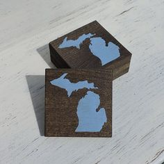 Pick State Pick Color Michigan Wood Coasters Set by YourHomeState