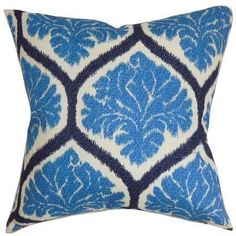 The Pillow Collection Robbia Floral Pillow, Pool
