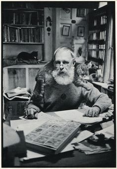 Edward Gorey in a studio with cats