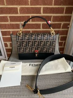 00b2f6db929 Details about FENDI Zucca Pattern Hand Bag Brown Black Canvas Vintage Italy  Authentic #S661 I