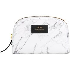 Wouf Marble Cosmetic Bag - White - Large (60 CAD) ❤ liked on Polyvore featuring beauty products, beauty accessories, bags & cases, bags, accessories, makeup, purses, white, toiletry bag and travel toiletry case