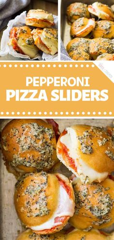 Snack on this easy Super Bowl appetizers! Pepperoni Pizza Sliders are perfect fo. - Snack on this easy Super Bowl appetizers! Pepperoni Pizza Sliders are perfect football party food f - Nacho Bar, Jungle Juice, Aperitivos Super Bowl, Nacho Salat, Pizza Slider, Sauce Pizza, Super Bowl Essen, Football Party Foods, Slider Recipes