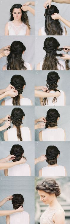 A tutorial for a gorgeous crown braid chignon.