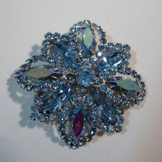 Vintage 1950s Blue Weiss Brooch Aurora Borealis Pin Rhinestone